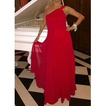 Vestido Rojo Largo De Gasa Noche/ Fiesta. Un Hombro