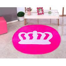 Tapete Coroa Pink Princesa Infantil Em Pelucia Gigante