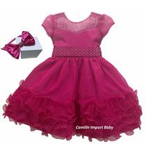 Vestido Festa Infantil Princesa Barbie Peppa Pink E Tiara