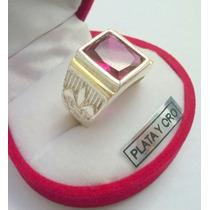 Importante Anillo Sello Flor De Liz.plata Oro Y Cubic Hombre