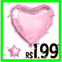 Balao Festa Formatura Metalizado Coracao Rosa Claro 45 Cm