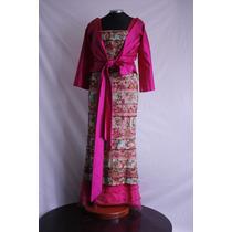 Vestido Elegante Tres Piezas Rosa Con Bordados De Colores
