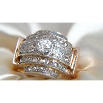Anel Vintage De Ouro Rosê Cravejado Com 2,0cts De Diamantes!