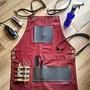 Avental Barbeiro Profissional Jeans Com Detalhes Em Couro