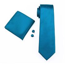 Set221 Corbata+pañuelo+mancuernillas - Azul Turquesa