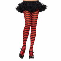 Meia Calça Listrada Leg Avenue - Plus Size Vermelha E Preta