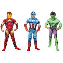 Disfraz Avengers Iron Man, Hulk Y Cap. America Con Musculos