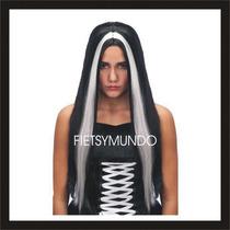 Peluca Negra Mechón Blanco Morticia Halloween Disfraz Terror