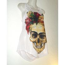Blusa Camiseta Frida Kahlo Calavera Flores Pintura México