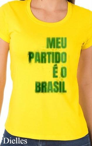 Camiseta Bolsonaro Meu Partido É O Brasil Queima De Estoque - R  25 ... e2223c6643555