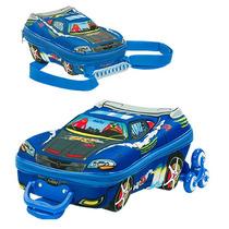 Mochila Escolar Mochilete 3d Carro V8 Azul Maxtoy Lancheira