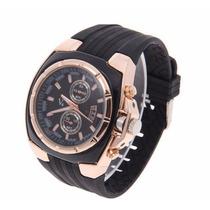 Relógio Masculino V6 Quartz Speed Dourado Aço Importado