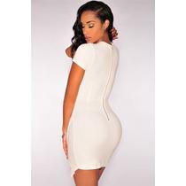 Sexy Vestido Asimetrico Blanco Manga Corta Moda Asiatica