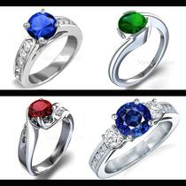Anillo De Compromiso Oro 14k Zafiro Rubi Esmeralda Diamantes