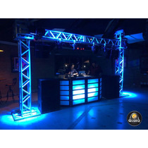 Dj Cabine Front Treliça Cdj Technics Moving Led Barman Laser