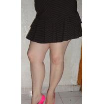 Sexy Minifalda Con Olanes En Color Cafe