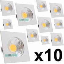 Kit 10 Mini Spot Cob 3w Led Quadrado Branco Frio Ou Quente