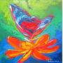 Pintura Cuadro Óleo Decorativo Mariposa Flor