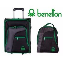 Set De Maleta Y Mochila Benetton Diferentes Colores Nuevas