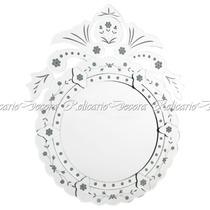Espelho Veneziano Redondo Com Enfeites Acima Uma Graça
