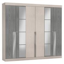 Guarda-roupa Com Espelho 6 Portas Turim Maxel Artico/cinza