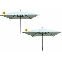 2 Guarda Sol Ombrellones Sombreiro Quadrado Luxo 2,25 Metros