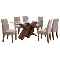 Jogo De Mesa Com 6 Cadeiras Sala De Jantar Madero Dj Móveis