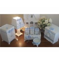 Kit Higiene Bebê Luxo Coroa Azul 8 Pçs