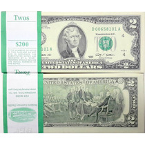 Fajo De 25 Billetes Sin Circular 2 Dolares 1995 Cat. Us$ 250