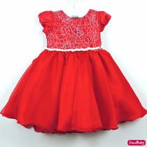 Vestido Vermelho Infantil Luxo Dama De Honra Com Faixa