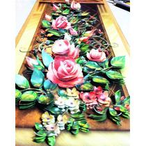 Quadro Para Sala Flor Roseira Com Treliça Em Arte Francesa