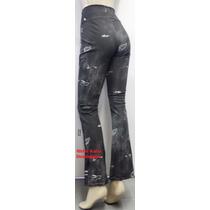 Kit 2 Calças Bailarina Flare Estampa Jeans Rasgado 100%linda