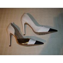Zapatos Gacel De Cuero Taco Alto Nº 36.blanco,negro,dorado.