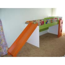 Cama Puente Infantil Juvenil Laqueada Tobogán Y Escalera