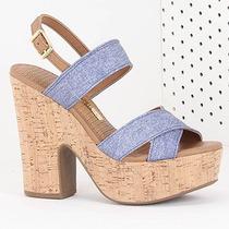 Sandália Salto Feminina Via Marte - Jeans