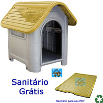 Casinha Plástico Desmontável Cachorro N3 Médio Porte Amarel