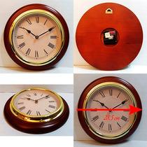 Reloj De Pared Madera Y Aro Dorado