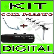 Kit Conversor Tv Digital + Antena Externa + Mastro / Suporte