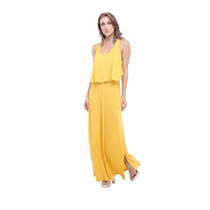 Vestido Longo Morena Rosa Amarelo Com Fenda Maravilhoso