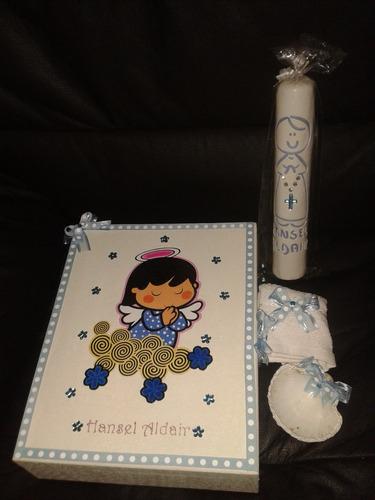 Vela de bautizo en set caja de angelito para ni o 429 - Decoracion de velas para bautizo ...