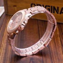 Relógio Marca Geneva Feminino De Luxo, Rosa Inox Com Strass