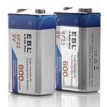 1 Pila Batería Recargable 9v De 600 Mah De Li-on Modelo 6f22