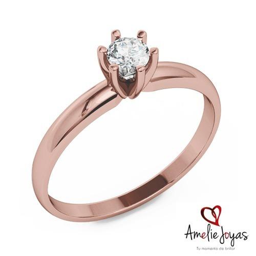 0b83f12a13cc Anillo Compromiso Amelie Joyas Oro Rosa 14k Diamante 10 Ptos ...