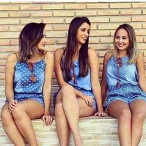 Macaquinho Jeans Feminino Estampa Em 3 Tipos P/ Verão