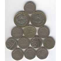Lote De 13 Monedas De Inglaterra (son 7 Libras Esterlinas)