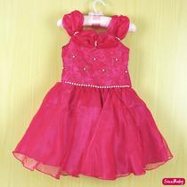 Vestido Infantil Festa Infantil Luxo Princesa Pink Barbie