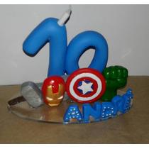 Vela Topo De Bolo Biscuit, Os Vingadores, Avengers Infantil