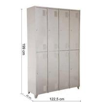 Armário Roupeiro De Aço Vestiário Academia 8 Portas Locker