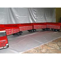 Scania T124 Bicudão 4 Carretas Bitrem 2.30 Metros Caminhão