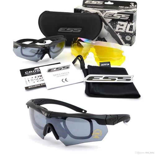 85f4c7fb2 Óculos Ess Crossbow Tr90 Militar Black Airsoft Preto 3 Lente - R ...
